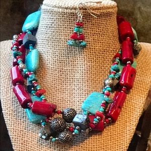 Coral, turquoise & silver bead necklace/earrings